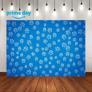 LUCKSTY 9x6FT Cartoon Puppy Dog Paw Backdrops for Photography Dog Print Paw Patrol Blue Backgrounds Birthday Party Cake Table Banner Photo Props LULX045