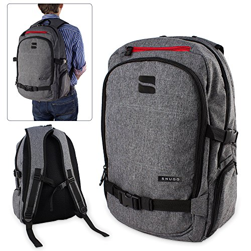 (Grey) - Laptop Backpack, Snugg Premium Rucksack - Fits Laptops up to 40cm [Work, School & Travel] - Grey - 12 Month Guarantee