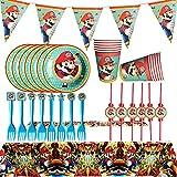 ALHX Set di Articoli per Feste e Set di stoviglie Super Mario 26 Pezzi, Kit di Decorazioni di Compleanno per Ragazze - Tovaglioli, Striscioni, Coltelli, Forchette e Cucchiai-Serve 6