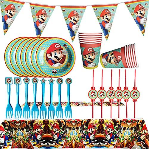 ALHX Super Mario Partyware Set, 26 pièces Super Mario Party Supplies Kit Fournitures de Fête d'anniversaire Assiettes de Vaisselle pour Anniversaire d'enfants et Fêtes