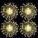 Luces LED Fuego Exterior Pilas para Decoracion Halloween Navidad,Lamparas LED Decorativas Fuegos Artificiales Pirotecnia con Remoto Control,8 Modos para casa o jardín-4 piezas