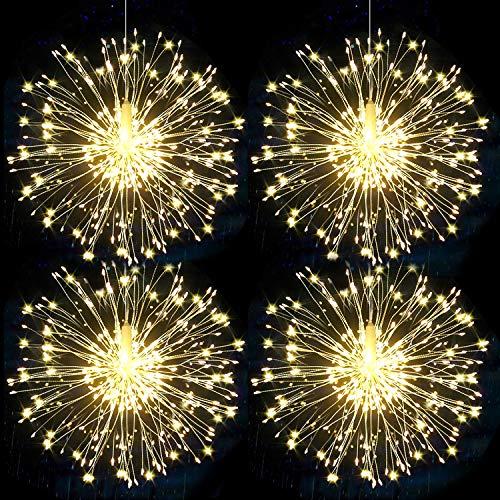 Led Lichterkette Feuerwerk AußEn & Innen Halloween Weihnachten Deko Garten,Led Lichterketten Feuerwerk Wasserdicht Mit Fernbedienung,8 Modi -4 Stück