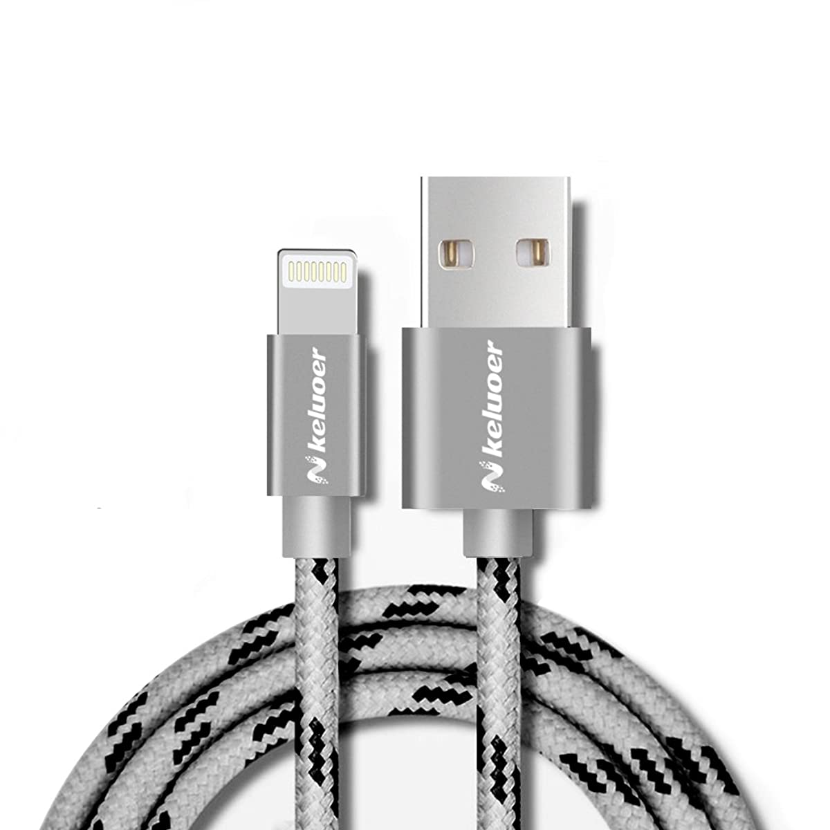 フェードアウト最大保有者Keluoer ライトニングUSBケーブル Apple PowerLine アルミニウム合金端子 ナイロン包み 断線しにくい 100cm  iPhone7, 6s, 6s Plus/iPad Pro, Air, mini/iPod touch 他対応 (グレー)