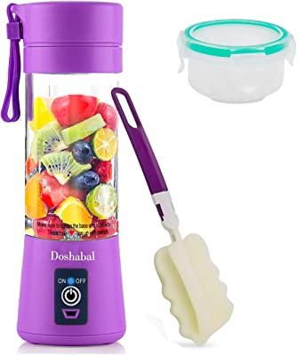 Doshabal Portable Blender, Personal Mixer Fruit Rechargeable with USB, Mini Blender for Smoothie, Fruit Juice(Purple)