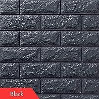 壁紙3 dレンガのテレビ背景リビングルームの寝室の壁装飾diyの自己接着防水のPEフォームの壁のステッカー (Color : Black, Size : 70cmx77cm)