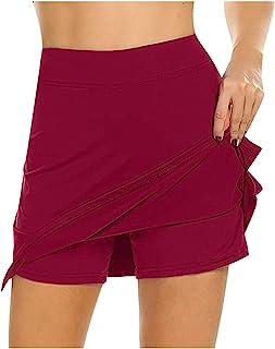 KIMODO Damen Sport Hosenrock mit Tasche Tennisrock Skirt für Laufen Tennis Golf Leichter Workout Rock Gefälschten Zweiteiligen Hakama Kleider