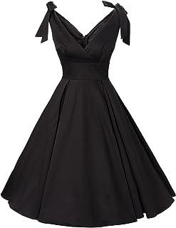 Women's 1950s V-Neck Bowknot Swing Cocktail Dress