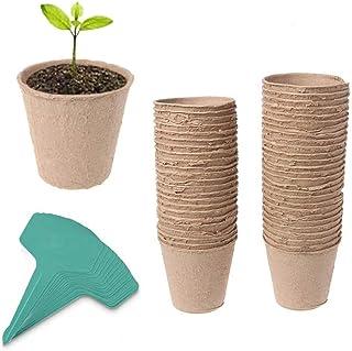 "60 Pack 3"" Peat Pots Plant Seed Starters Kit for seedlings & Herb,Transplant Seedlings Pots,Organic Biodegradable Eco-Frie..."