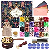 CHUHUAYUAN Wax Seal Stamp Kit with Gift Box, 24 Colors and 624 Pcs Wax Seal Beads with Wax Seal Stamp, Sealing Wax Warmer, Wax Seal Metallic Pen and Envelope, Wax Seal Kit for Gift and Decoration