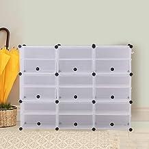 Cube Cabinet Shoe Storage Cabinet Organiser Shelf Stackable DIY 6 Tier 3 Column 3 Column 6 Row-White