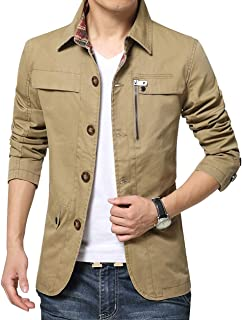 chouyatou Men's Spring Casual Button Front Single Breasted Cotton Lightweight Work Jacket