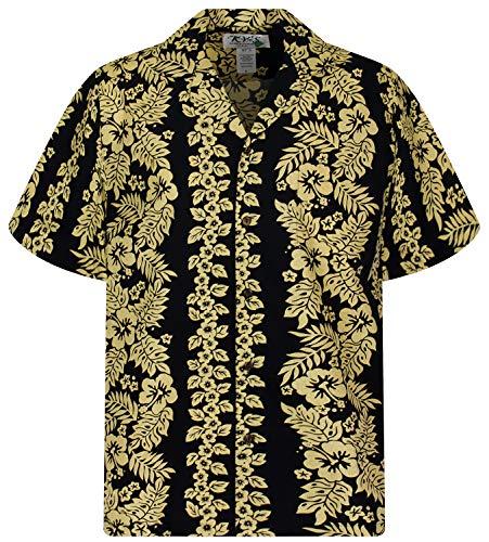 KY's Original Hawaiihemd, Goldgirlande, schwarz, 3XL
