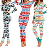 Pijamas navideños 2 Piezas Otoño Mujer Estampado Floral Se Adapta a Pantalones de Manga Larga Top Ropa de Dormir de Navidad Conjunto de Tela de Vacaciones