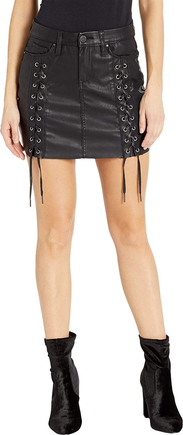 [BLANKNYC] Blank NYC Womens Vegan Leather LaceUp Mini Skirt in Carbon
