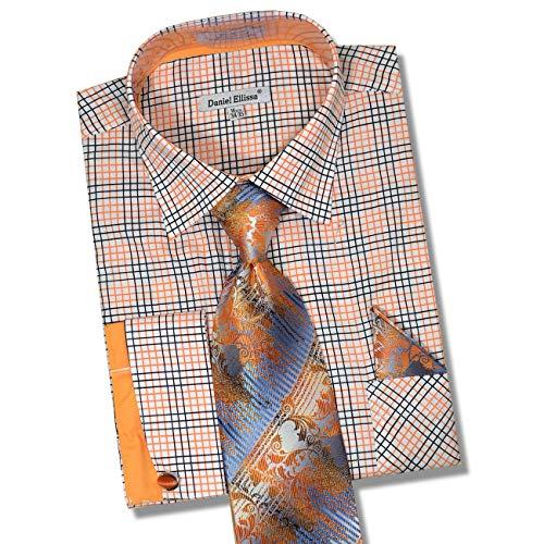 Daniel Ellissa Men's Long Sleeve Dress Shirt Tie Cufflink Hanky (White Orange, X-Large 17.5' Neck, 34-35' Sleeve)