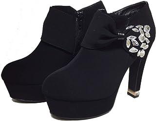 ブーティー リボン ビジュー レディース ブーツ VentiAnni ブーティー ヴェンティアンニ ショートブーツ キラキラ クリスタル Venti Anni 靴 ヌバック 美脚 女性