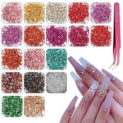 EBANKU 18 color Nail Art Vidrio triturado Piedras de uñas Irregular Decoración de Diamantes de imitación, mezcla de uñas de vidrio triturado para decoración irregular(A)