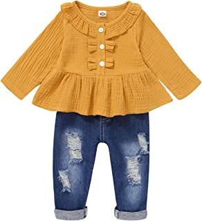Toddler Baby Girl Outfits Ruffle Sleeve Linen Shirt Cute Ripped Jeans Kids Denim Pants Set Infant Baby Clothes Girl