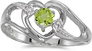 10k White Gold Round Peridot And Diamond Heart Ring