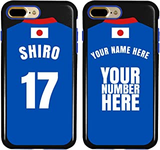 Custom Japan Flag Soccer Jersey Cases for iPhone 7 Plus / 8 Plus by Guard Dog – Personalized – Put Your Name and Number on a Phone Case. Includes Screen Protector (Black,Blue)