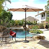 BELLEZE 9 FT Outdoor Patio Lawn Umbrella UV Resistant Water Resistant Canopy Cover Shade with Tilt Function Lawn -Beige