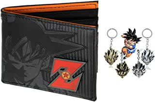 Dragon Ball Character Leather Bi-Fold Wallet with free gift keychain for Men or Boys