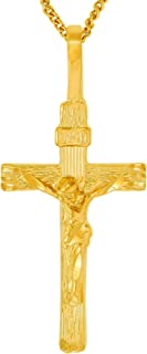 Lifetime Jewelry Cross Necklace [ Gold Crucifix Pendant and 20 inch Chain ] with up to 20X More 24k Plating Than Other Crucifix Necklace - INRI Crucifix with Free Lifetime Replacement Guarantee