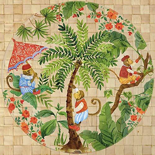 Les Jardins de la Comtesse - Grande Assiette/Plat Rond Verre Trempé thème Singes de Bali - Très résistante - 29,5 cm – Assiette Plate - Fond Transparent – pour Tables d'Extérieur et d'Intérieur
