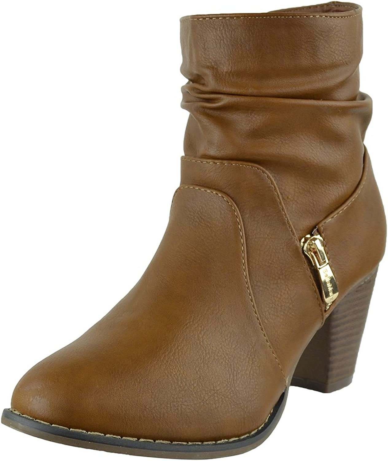 KSC Womens Ankle Boots Ruched Faux Zipper Casual Dress shoes