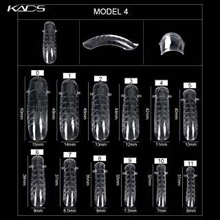 KADS 120PCS Clear Full Cover Dual Nail System Form UV Gel Acrylic Nail Art Mold Artificial Nail Tips with Scale for Extension MODEL 4