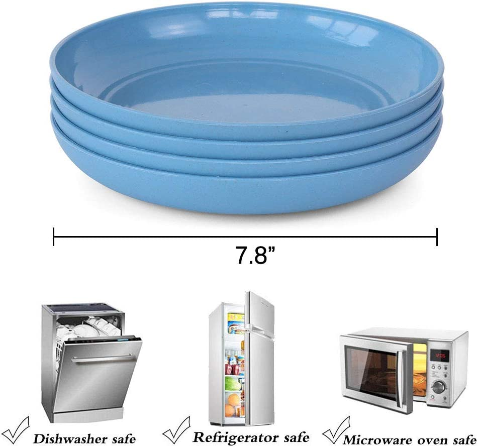 Microwave and Dishwasher Safe NAWOVAO Unbreakable Dinner Plates ...