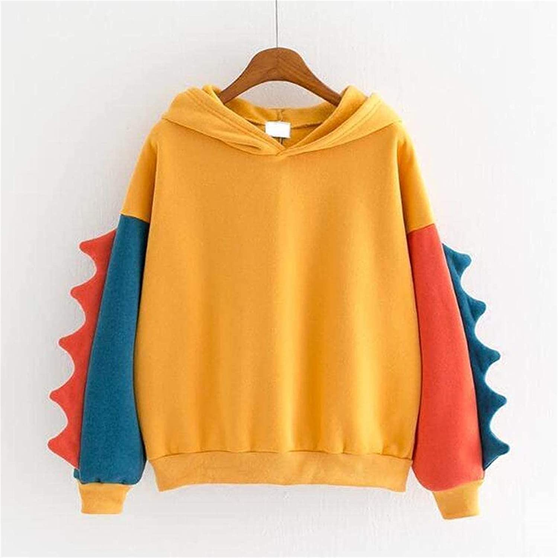 Womens Sweatshirts, Teen Girls Cute Dinosaur Printed Hoodies Long Sleeves Plush Zip Up Coat (Large,Yellow2)
