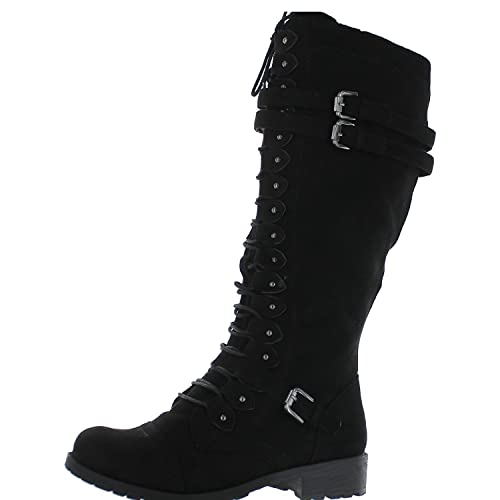 1ce115acb6b0 Wild Diva Timberly-65 Women's Fashion Lace Up Buckle Knee High Combat Boots  Black