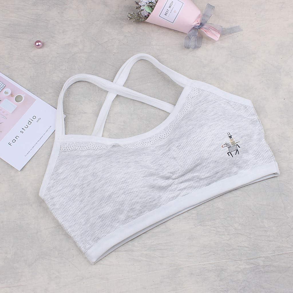 NINGYE Cotton Girls Bras,Young Girls Underwear Sport Training Wireless Bras 8-14 Years