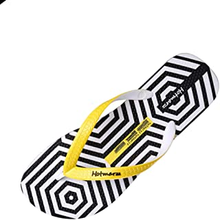 GLJJQMY Slippers Men's Summer Non-Slip Slippers Outdoor Beach Shoes Fashion Printed Sandals and Slippers flip Flop (Color : Yellow, Size : 43)