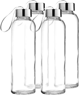 Seacoast - 18 OZ. Glass Bottles, 18/10 Stainless Steel Cap with Easy to Carry Loop (6 Pack, 4 Pack, 2 Pack Available) (4)