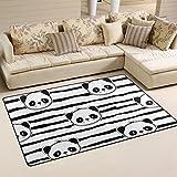coosun oso panda blanco y negro tira patrón área alfombra alfombra alfombra de suelo antideslizante Doormats para salón o dormitorio, tela, multicolor, 60 x 39 inch,152.4 x 99.1 cm