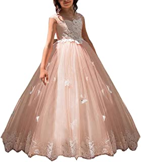 Princess Lace Applique Flower Girls First Communion Dress Puffy Pageant Prom Gown 56