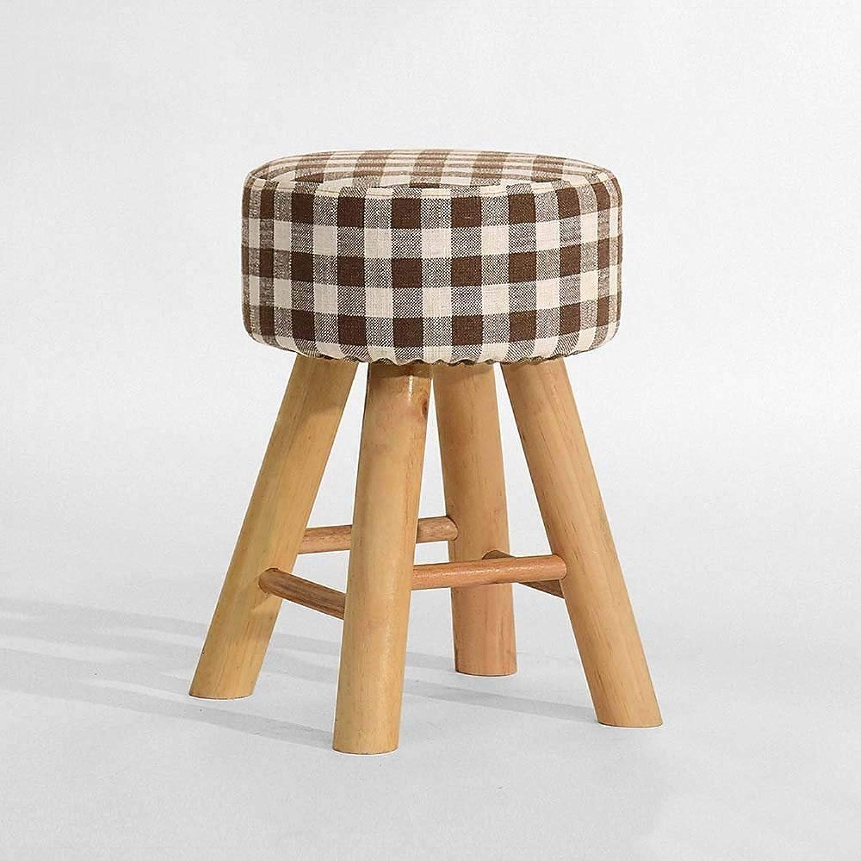 QTQZ Brisk- Fashion Creative Solid Wood Sofa Stool Cloth Down Stool Home Makeup Stool Storage Room (color Optional) (color  A)