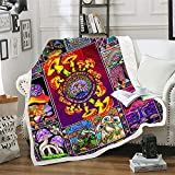 Psychedelic Mushroom Blanket Hippie Plant Throw Blankets for Couch Colorful Trippy Sherpa Fleece Blankets Summer Anime Soft Cotton Fuzzy Blanket Wool Plush Blanket (51 x 59in)