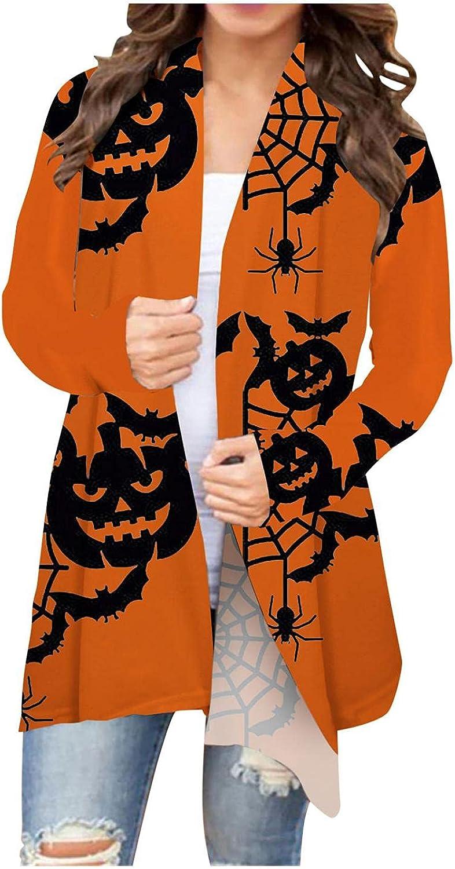 Womens Cardigan, Halloween Cardigas for Women, Womens Halloween Pumkin Bat Cardigan Open Front Sweartshirt Long Sleeve
