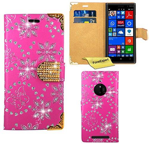 FoneExpert® Nokia Lumia 830 Hülle, Bling Diamant Hülle Wallet Hülle Cover Hüllen Etui Ledertasche Premium Lederhülle Schutzhülle für Nokia Lumia 830 + Bildschirmschutzfolie (Rosa)