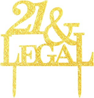 Glitter 21 & Legal Cake Toppper, 21st Birthday Anniversary Party Photo Props Cupcake Topper Decor (Gold)
