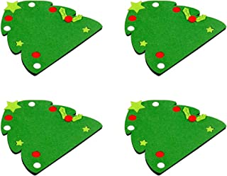 DOITOOL Coasters for Drinks 4pcs Christmas Non-Woven Cup Mats Heat Resistant Coasters Cute Placemat for Home Restaurant (Tree)