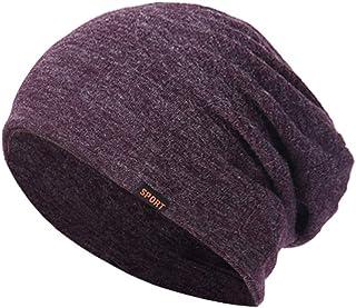 Head Wrap Beanie Caps Unisex Cotton Sleep Cap Sleeping Hat,Sports Beanie Hat (Purple)
