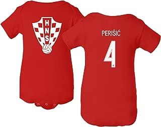 Tcamp Croatia 2018 National Soccer #4 Ivan PERISIC World Championship Little Infant Baby Short Sleeve Bodysuit