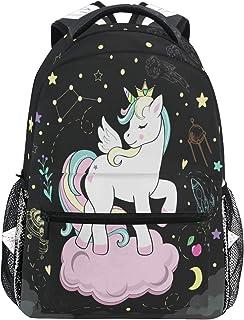 Hermosa mochila de unicornio pop impermeable escuela bolsa de hombro gimnasio mochila negro estrella corazón casa portátil bolsa de viaje al aire libre para niños niñas mujeres hombres