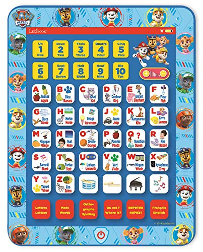 Lexibook JCPAD002PAi1 Paw Patrol Educational Bilingual Interactive Learning Tablet, Toy to Learn Alphabet Letters Numbers Words Spelling and Music, English/French Languages, Blue