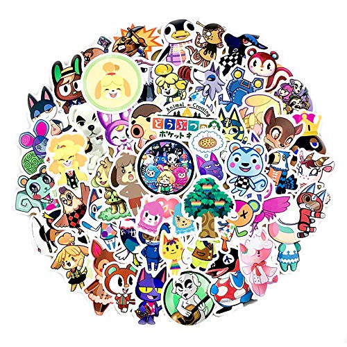 TTBH Animal Crossing Cartoon Animation Sticker Forcomputer Motorcycle Skateboard Guitar Toy Game Machine Children Gift60Pcs
