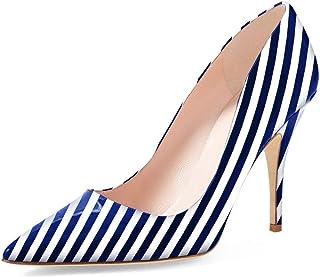 Women Chic Pointed Toe Slip on Stilettos Mid Heel Pumps...